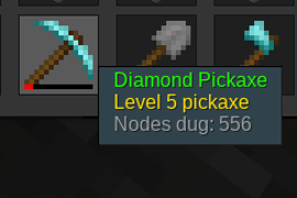 A diamond pickaxe, with many nodes dug, level 5.
